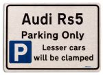 Audi Rs5 Car Owners Gift| New Parking only Sign | Metal face Brushed Aluminium Audi Rs5 Model